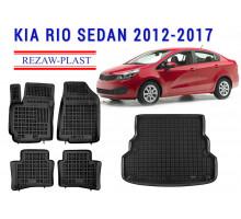 All Weather Floor Mats Trunk Liner Set For KIA RIO SEDAN 2012-2017 Black