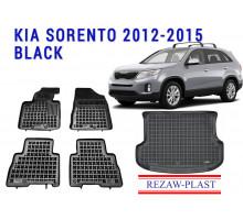 All Weather Floor Mats Trunk Liner Set For KIA SORENTO 2012-2015 Black