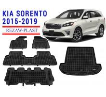 All Weather Floor Mats Trunk Liner Set For KIA SORENTO 2015-2019 Black