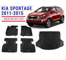 All Weather Floor Mats Trunk Liner Set For KIA SPORTAGE 2011-2015 Black