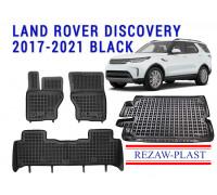 Rezaw-Plast Floor Mats Trunk Liner Set for Land Rover Discovery 2017-2021 Black