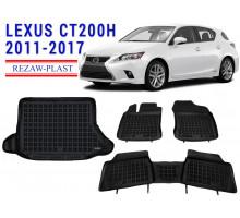 All Weather Floor Mats Trunk Liner Set For LEXUS CT200H 2011-2017 Black