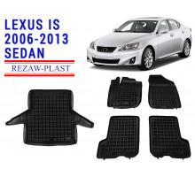 All Weather Floor Mats Trunk Liner Set For LEXUS IS 2006-2013 SEDAN Black
