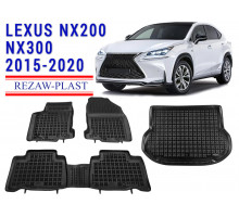All Weather Floor Mats Trunk Liner Set For LEXUS NX200 NX300 2015-2020 Black