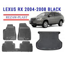 All Weather Floor Mats Trunk Liner Set For LEXUS RX 2004-2008 Black