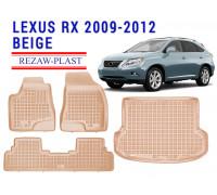 Rezaw-Plast Floor Mats Trunk Liner Set for Lexus RX 2009-2012 Beige
