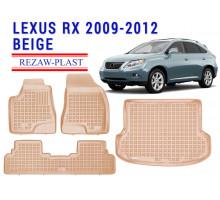 All Weather Floor Mats Trunk Liner Set For LEXUS RX 2009-2012 Beige