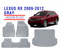 All Weather Floor Mats Trunk Liner Set For LEXUS RX 2009-2012 Gray