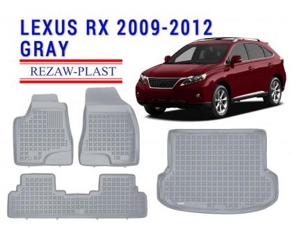 All Weather Floor Mats Trunk Liner Set For LEXUS RX 2009-2012 Gray
