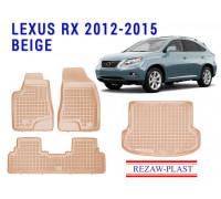 Rezaw-Plast Floor Mats Trunk Liner Set for Lexus RX 2012-2015 Beige
