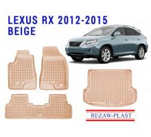 All Weather Floor Mats Trunk Liner Set For LEXUS RX 2012-2015 Beige