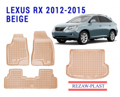 All Weather Floor Mats Trunk Liner Set For LEXUS RX 2012-2015 Beige