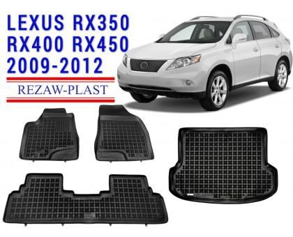 All Weather Floor Mats Trunk Liner Set For LEXUS RX350 RX400 RX450 2009-2012 Black