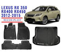 Rezaw-Plast Floor Mats Trunk Liner Set for Lexus RX350 RX400 RX450 2012-2015 Black