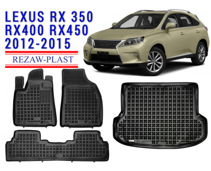All Weather Floor Mats Trunk Liner Set For LEXUS RX350 RX400 RX450 2012-2015 Black