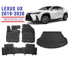 All Weather Floor Mats Trunk Liner Set For LEXUS UX 2019-2020 Black