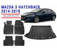Rezaw-Plast Floor Mats Trunk Liner Set for Mazda 3 Hatchback 2014-2018 Black