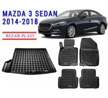 Rezaw-Plast Floor Mats Trunk Liner Set for Mazda 3 Sedan 2014-2018 Black