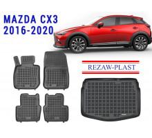 Rezaw-Plast Floor Mats Trunk Liner Set for Mazda CX3 2016-2020 Black