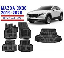Rezaw-Plast Floor Mats Trunk Liner Set for Mazda CX30 2019-2020 Black