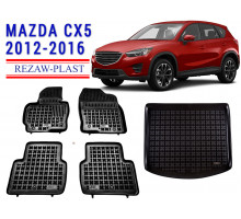Rezaw-Plast Floor Mats Trunk Liner Set for Mazda CX5 2012-2016 Black
