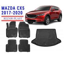 Rezaw-Plast Floor Mats Trunk Liner Set for Mazda CX5 2017-2020 Black