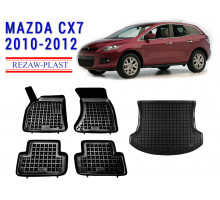 Rezaw-Plast Floor Mats Trunk Liner Set for Mazda CX7 2010-2012 Black