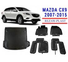 Rezaw-Plast Floor Mats Trunk Liner Set for Mazda CX9 2007-2015 Black