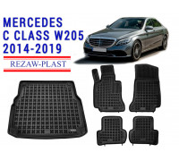 All Weather Floor Mats Trunk Liner Set For MERCEDES C CLASS W205 2014-2019 Black