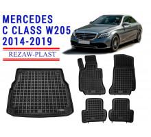Rezaw-Plast Floor Mats Trunk Liner Set for Mercedes C Class W205 2014-2019 Black