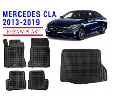 Rezaw-Plast Floor Mats Trunk Liner Set for Mercedes CLA 2013-2019 Black