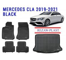 Rezaw-Plast Floor Mats Trunk Liner Set for Mercedes CLA 2019-2021 Black