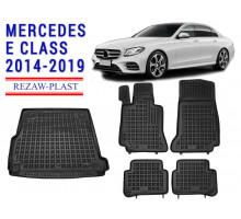 Rezaw-Plast Floor Mats Trunk Liner Set for Mercedes E Class 2014-2019 Black
