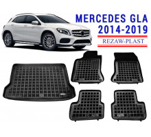 Rezaw-Plast Floor Mats Trunk Liner Set for Mercedes GLA 2014-2019 Black