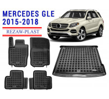 Rezaw-Plast Floor Mats Trunk Liner Set for Mercedes GLE 2015-2018 Black