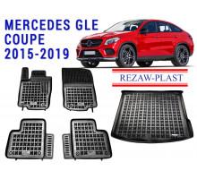Rezaw-Plast Floor Mats Trunk Liner Set for Mercedes GLE Coupe 2015-2019 Black