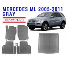 Rezaw-Plast Floor Mats Trunk Liner Set for Mercedes ML 2005-2011 Gray