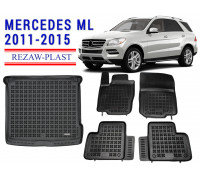 All Weather Floor Mats Trunk Liner Set For MERCEDES ML 2011-2015 Black