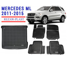 Rezaw-Plast Mats Trunk Liner Set for Mercedes ML 2011-2015 Black