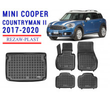 All Weather Floor Mats Trunk Liner Set For MINI COOPER COUNTRYMAN II 2017-2020 Black