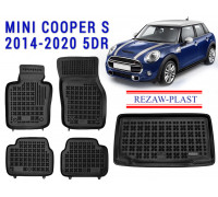 All Weather Floor Mats Trunk Liner Set For MINI COOPER S 2014-2020 5DR Black
