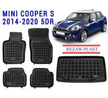 All Weather Floor Mats Trunk Liner Set For MINI COOPER S 2014-2020 5DR Black