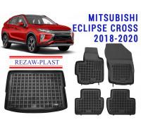 All Weather Floor Mats Trunk Liner Set For MITSUBISHI ECLIPSE CROSS 2018-2020 Black