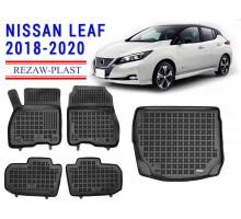 All Weather Floor Mats Trunk Liner Set For NISSAN LEAF 2018-2020 Black