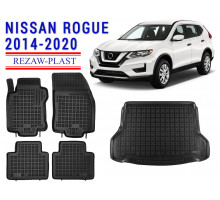 All Weather Floor Mats Trunk Liner Set For NISSAN ROGUE 2014-2020 Black