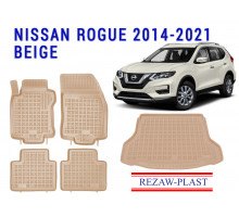 All Weather Floor Mats Trunk Liner Set For NISSAN ROGUE 2014-2021 Beige