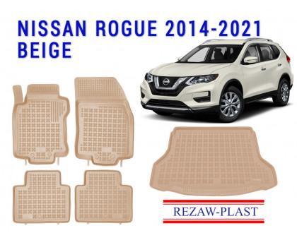 Rezaw-Plast Floor Mats Trunk Liner Set for Nissan Rogue 2014-2021 Beige