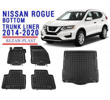 All Weather Floor Mats Trunk Liner Set For NISSAN ROGUE BOTTOM TRUNK LINER 2014-2020 Black