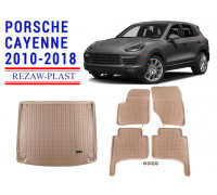 All Weather Floor Mats Trunk Liner Set For PORSCHE CAYENNE 2010-2018 Beige