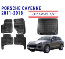 All Weather Floor Mats Trunk Liner Set For PORSCHE CAYENNE 2011-2018 Black